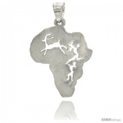 Sterling Silver Continent of Africa Pendant, 1 in Tall