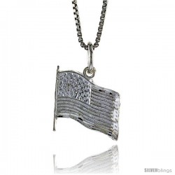 Sterling Silver USA Flag Pendant, 1/2 in Tall