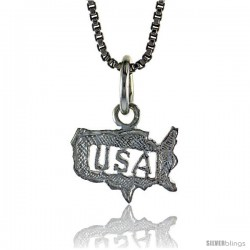 Sterling Silver Small USA Pendant, 5/16 in Tall