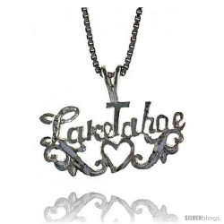 Sterling Silver I Love Lake Tahoe Pendant, 1/2 in Tall