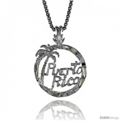 Sterling Silver Puerto Rico Pendant, 1/2 in Tall