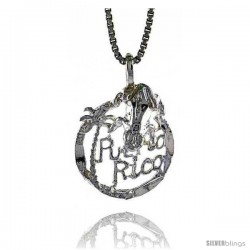 Sterling Silver Puerto Rico Pendant, 5/8 in tall