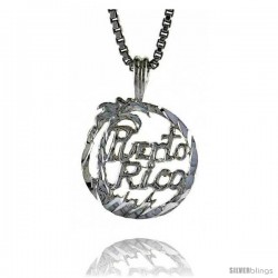 Sterling Silver Puerto Rico Pendant, 1/2 in Tall -Style 4p792