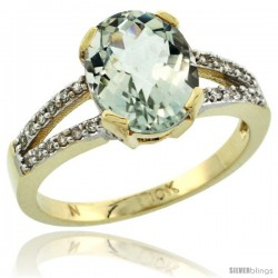 10k Yellow Gold and Diamond Halo Green Amethyst Ring 2.4 carat Oval shape 10X8 mm, 3/8 in (10mm) wide