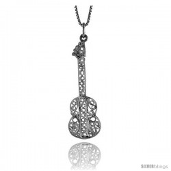 Sterling Silver Large Filigree Guitar Pendant, 1 3/4 in Tall