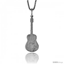 Sterling Silver Guitar Pendant, 1 in Tall