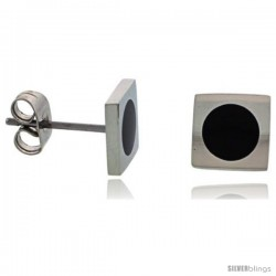 Stainless Steel Round Black Enamel Square Stud Earrings, 5/16inch High