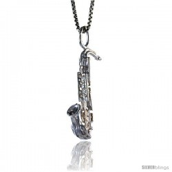 Sterling Silver Saxophone Pendant, 1 in Tall