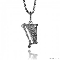 Sterling Silver Tiny Harp Pendant, 1/2 in Tall