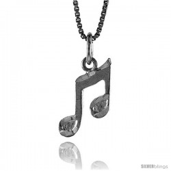 Sterling Silver Musical Note Pendant, 1/2 in Tall