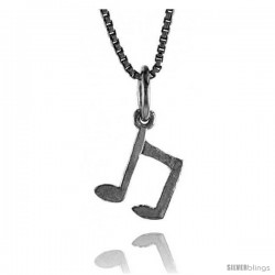 Sterling Silver Small Musical Note Pendant, 3/8 in Tall