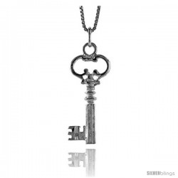 Sterling Silver Key Pendant, 1 1/16 in Tall