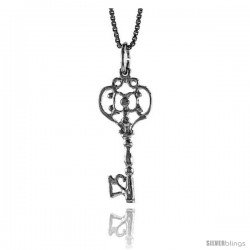 Sterling Silver Key Pendant, 1 in Tall