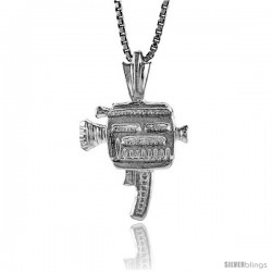 Sterling Silver Movie Camera Pendant, 5/8 in Tall