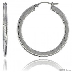 Surgical Steel Flat Tube Hoop Earrings 1 1/2 in Round 2 mm Thin Candy Stripe Pattern, feather weight
