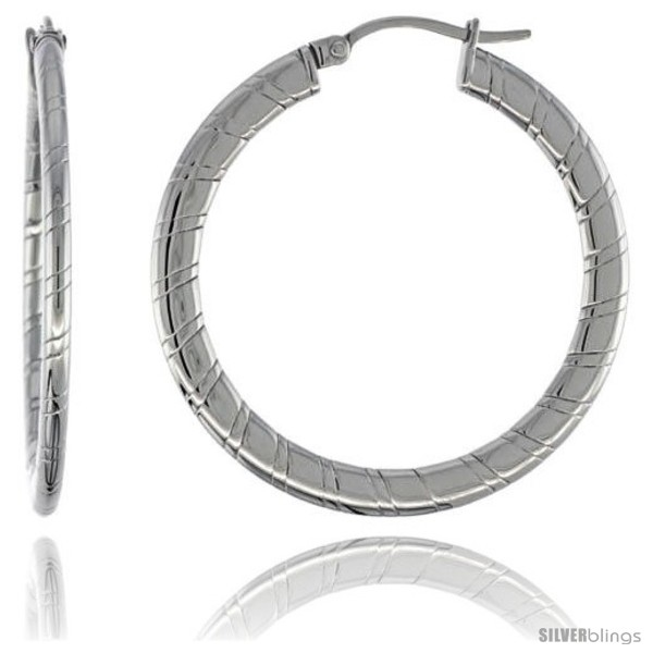 https://www.silverblings.com/2066-thickbox_default/surgical-steel-flat-tube-hoop-earrings-1-1-2-in-round-2-mm-thin-candy-stripe-pattern-feather-weight.jpg