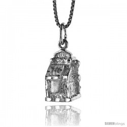 Sterling Silver Slot Machine Pendant, 1/2 in Tall