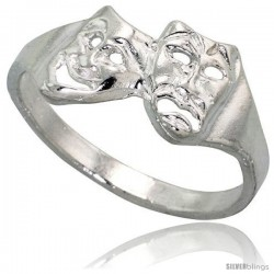 Sterling Silver Drama Masks Ring Polished finish 3/8 in wide -Style Ffr488
