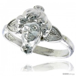 Sterling Silver Woman's Face Ring Polished finish 1/2 in wide