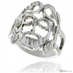 Sterling Silver Jesus Ring Polished finish 3/4 in wide