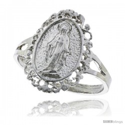 Sterling Silver Mary Immaculate Ring Polished finish 11/16 in wide