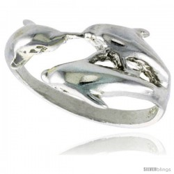 Sterling Silver Triple Dolphin Ring Polished finish 1/2 in wide
