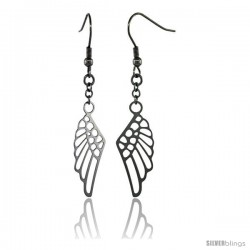 Surgical Steel Angel Wings Dangle Earrings 2 1/4 in long