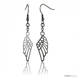 Surgical Steel Angel Wings Dangle Earrings 2 1/4 in long