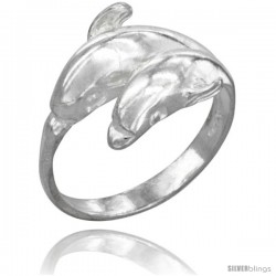 Sterling Silver Double Dolphin Ring Polished finish 1/2 in wide