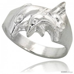 Sterling Silver Double Dolphin Ring Polished finish 1/2 in wide -Style Ffr498