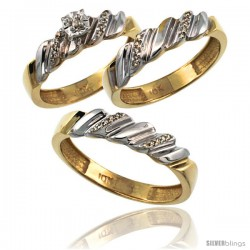 10k Gold 3-Pc. Trio His (5mm) & Hers (5mm) Diamond Wedding Ring Band Set, w/ 0.20 Carat Brilliant Cut Diamonds