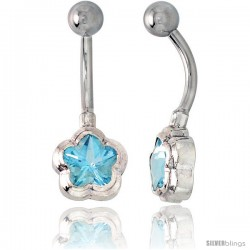 Flower Belly Button Ring with Blue Topaz Cubic Zirconia on Sterling Silver Setting -Style Ssc48