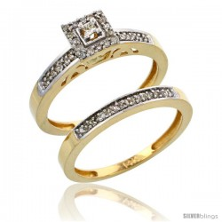 10k Gold 2-Piece Diamond Engagement Ring Set, w/ 0.27 Carat Brilliant Cut Diamonds, 3/32 in. (2.5mm) wide