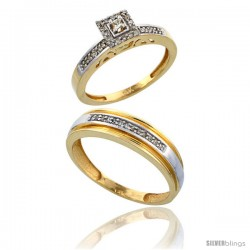 10k Gold 2-Piece Diamond Ring Set ( Engagement Ring & Man's Wedding Band ), w/ 0.25 Carat Brilliant Cut Diamonds, ( 2. 5mm 6mm