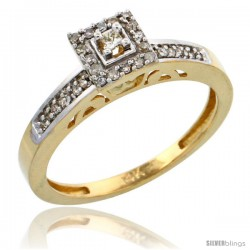 10k Gold Diamond Engagement Ring, w/ 0.19 Carat Brilliant Cut Diamonds, 3/32 in. (2.5mm) wide