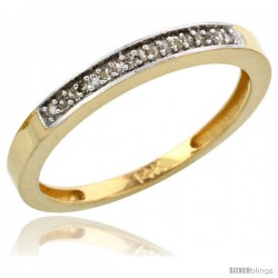 10k Gold Ladies' Diamond Band, w/ 0.08 Carat Brilliant Cut Diamonds, 3/32 in. (2.5mm) wide
