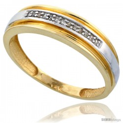 10k Gold Men's Diamond Band, w/ 0.06 Carat Brilliant Cut Diamonds, 1/4 in. (6mm) wide