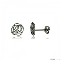 Stainless Steel Tiny Cut Out Flower Stud Earrings 3/8 in high