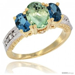 10K Yellow Gold Ladies Oval Natural Green Amethyst 3-Stone Ring with London Blue Topaz Sides Diamond Accent