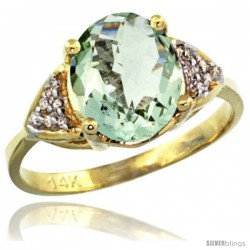 14k Yellow Gold Diamond Green Amethyst Ring 2.40 ct Oval 10x8 Stone 3/8 in wide