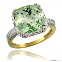 14k Yellow Gold Diamond Green-Amethyst Ring 5.94 ct Checkerboard Cushion 11 mm Stone 1/2 in wide