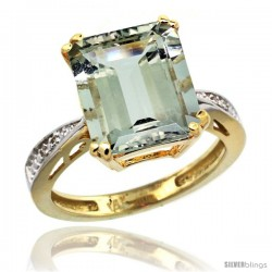 14k Yellow Gold Diamond Green-Amethyst Ring 5.83 ct Emerald Shape 12x10 Stone 1/2 in wide -Style Cy402149