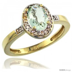 14k Yellow Gold Diamond Green-Amethyst Ring 1 ct 7x5 Stone 1/2 in wide