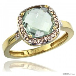 14k Yellow Gold Diamond Green-Amethyst Ring 2.08 ct Checkerboard Cushion 8mm Stone 1/2.08 in wide
