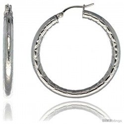 Surgical Steel 1 1/2 in Hoop Earrings Zigzag Embossed Pattern 4 mm tube, feather weigh