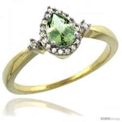 14k Yellow Gold Diamond Green-Amethyst Ring 0.33 ct Tear Drop 6x4 Stone 3/8 in wide