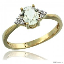 14k Yellow Gold Ladies Natural Green Amethyst Ring oval 7x5 Stone Diamond Accent