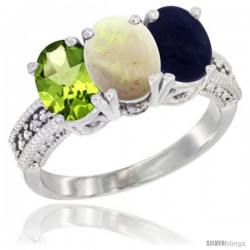 14K White Gold Natural Peridot, Opal & Lapis Ring 3-Stone Oval 7x5 mm Diamond Accent