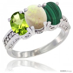 14K White Gold Natural Peridot, Opal & Malachite Ring 3-Stone Oval 7x5 mm Diamond Accent