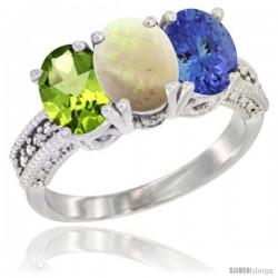 14K White Gold Natural Peridot, Opal & Tanzanite Ring 3-Stone Oval 7x5 mm Diamond Accent